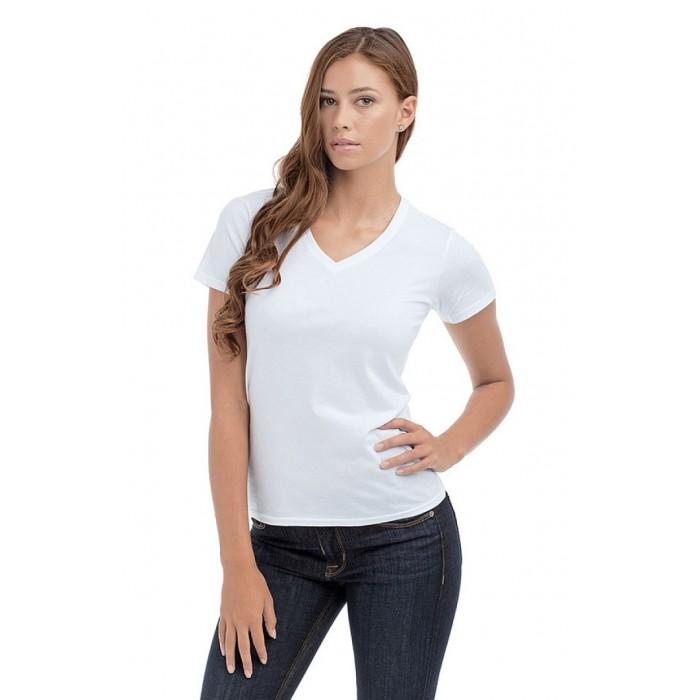 T-shirt damski V-neck biały